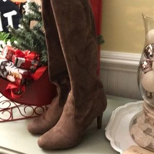 Over the Knee Taupe Suedette Boots Sz 8